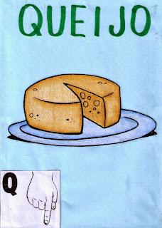 alfabeto libras colorido Q