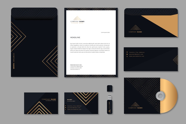 Colorful modern business stationery Free Vector