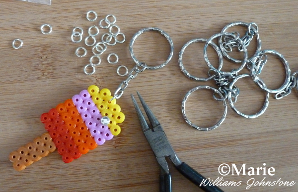 What You Need to Make a Perler Bead Keychain Tools Materials Key rings chains fused Hama beads