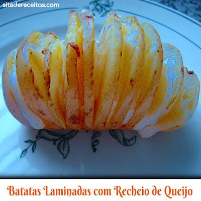 Batatas laminadas com recheio de queijo