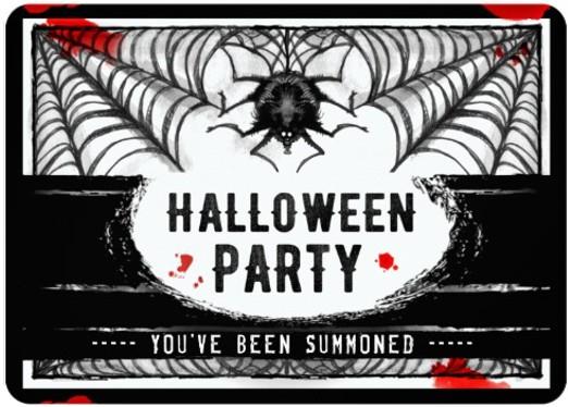 Halloween Spider Black & White Party Invitation