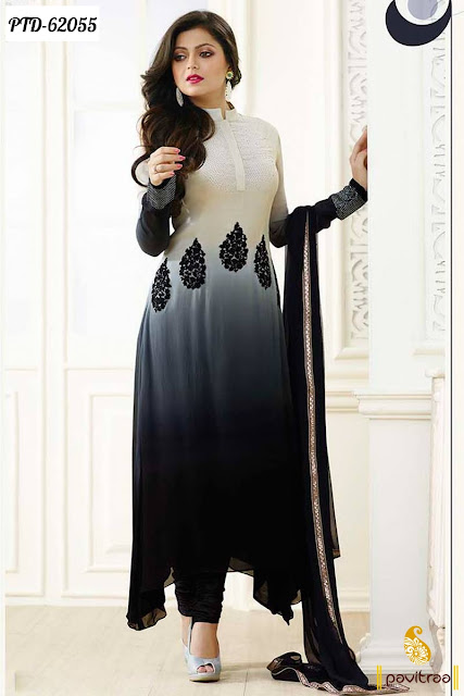 Drashti Dhami grey chiffon Indian fashion designer anarkali suits and dresses online collection with discount offer sale