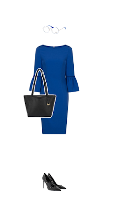 Peplum sleeved royal blue dress for lawyer interview