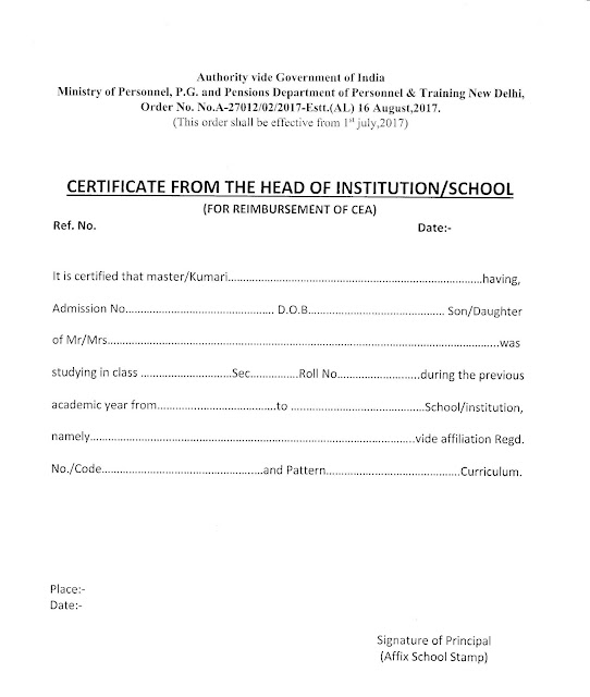 Format of School Certificate for Children Education Allowance