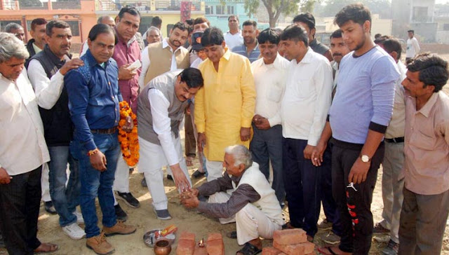 MLA Techchand Sharma laid the foundation stone of a community center in the village Sundsad