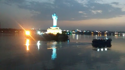 16 m high Buddha statue at Hussain Sagae lake, Hyderabad
