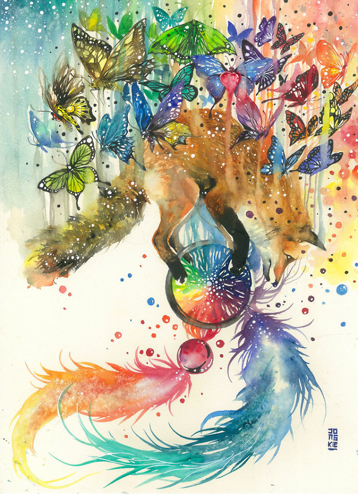 19-Taken-Luqman Reza jongkie-Painting-Fantasy-worlds-with-Flowing-Watercolor-Animals-www-designstack-co