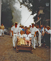 Photo of 'Just Us Two' in a wicker basket  ready for the ride down from Monte.