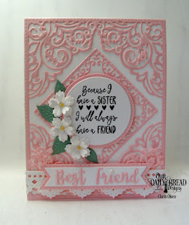 Our Daily Bread Designs Stamp Set: Sister In Christ, Custom Dies: Lacey Corners, Celebration Words, Bitty Blossoms, Pierced Circles, Circles, Double Stitched Pennant Flag, Pennant Flag, Beautiful Borders