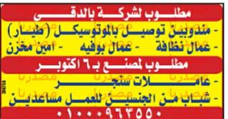 وظائف جريدة الوسيط مصر الجمعة 30-09-2016