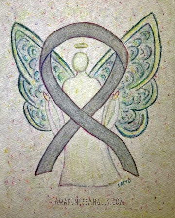 Gray Awareness Ribbon Angel Art Painting