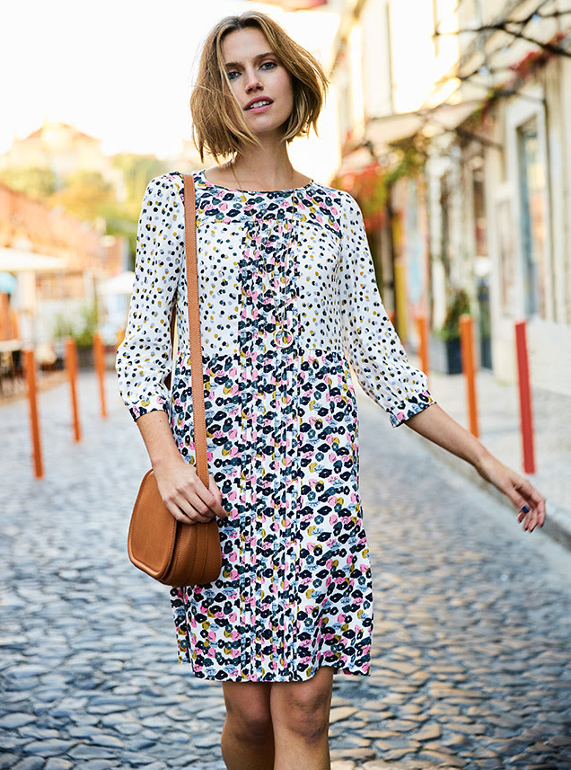 dd34c53a1df6 If print's your thing, go crazy with this double print Hotchpotch pintuck  dress. Perfect for dashing out the door dressing, this dress will take you  from ...