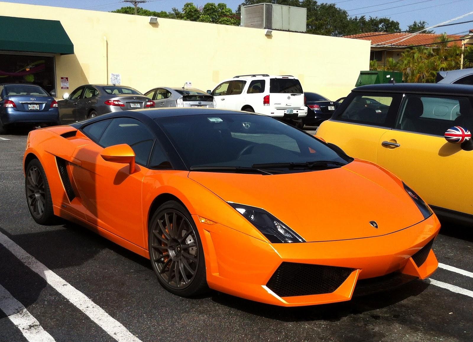 Orange Black Lamborghini Gallardo With Black Roof Black Rims