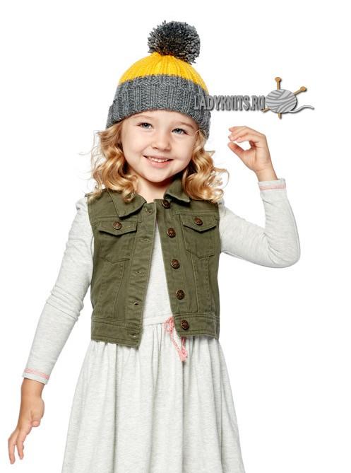 Knitting Trends вязаная спицами простая детская шапка с отворотом