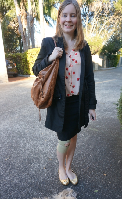 Away From Blue Blog | Choies Strawberry Print Shirt Black Trench Pencil Skirt Office Wear