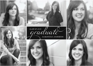 black & white custom photo grad invite for her