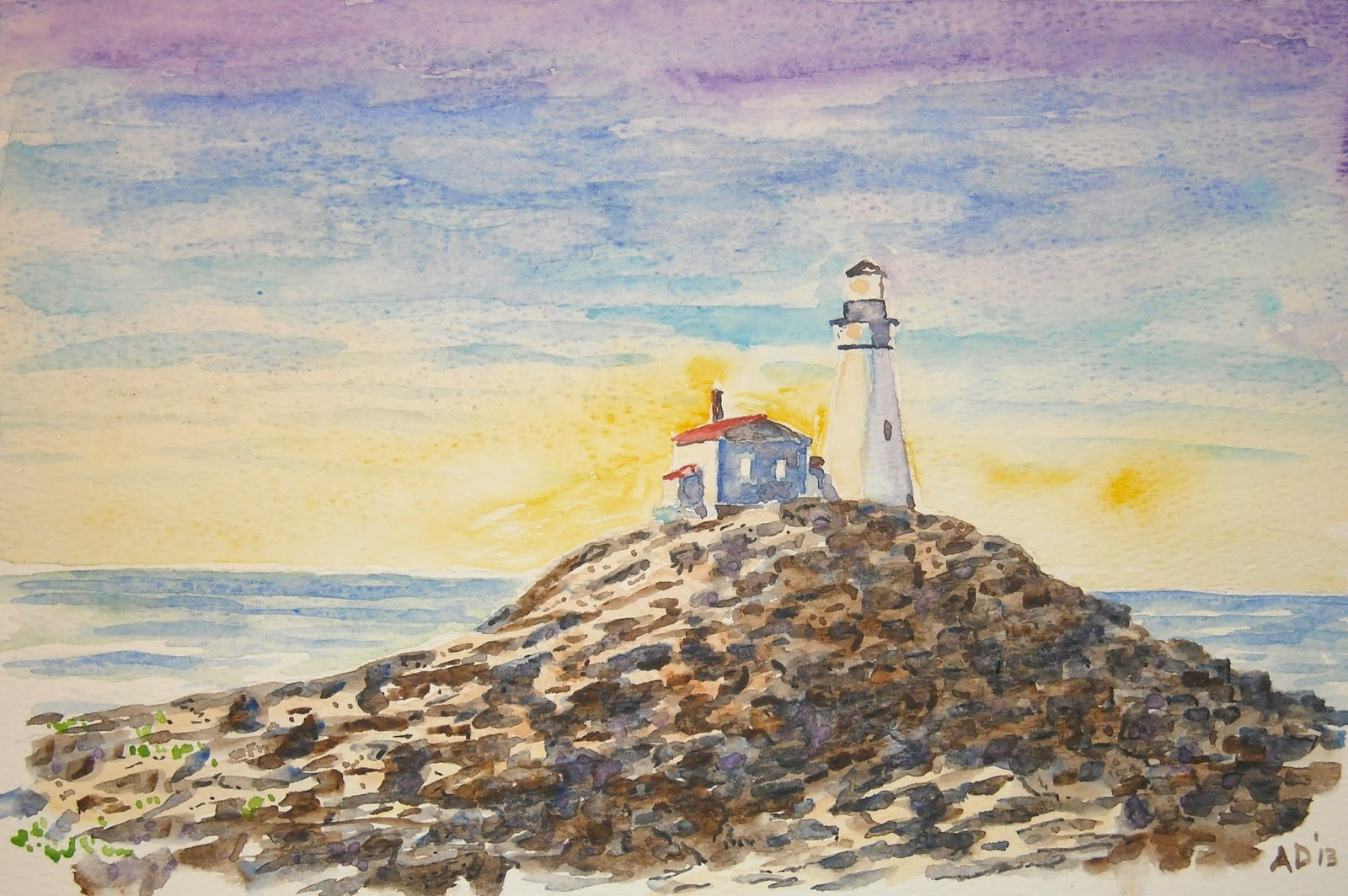 Artist Adron Lighthouse At Sunset Watercolor