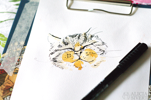 aliciasivert alicia sivertsson skapa skapande kreativitet creativity create akvarell vattenfärg water color water colour watercolor watercolour katt cat