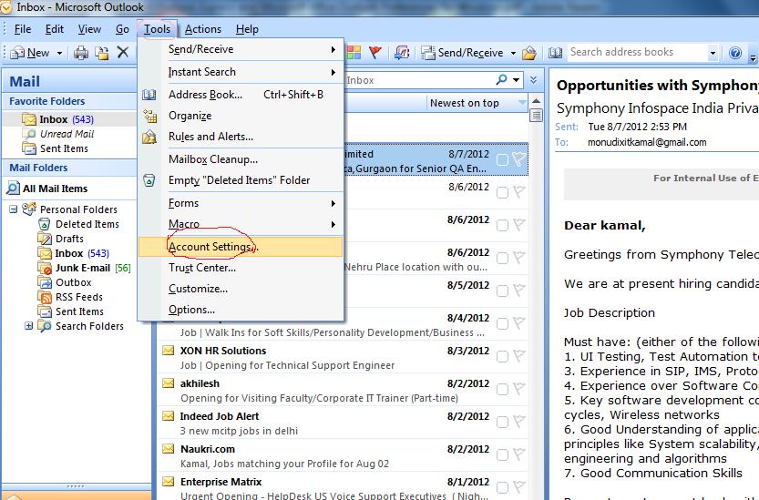Networking Tutorials Configure Ms Outlook 2007