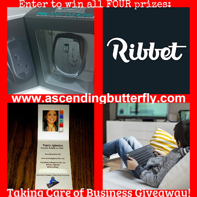 Taking Care of Business Holidays 2015 Giveaway on Ascending Butterfly, Logitech Wireless Touch Keyboard K400, Logitech MX ANYWHERE 2 Wireless Mobile Mouse, 1 year of Ribbet Premium, 100 Tiny Prints Business Cards