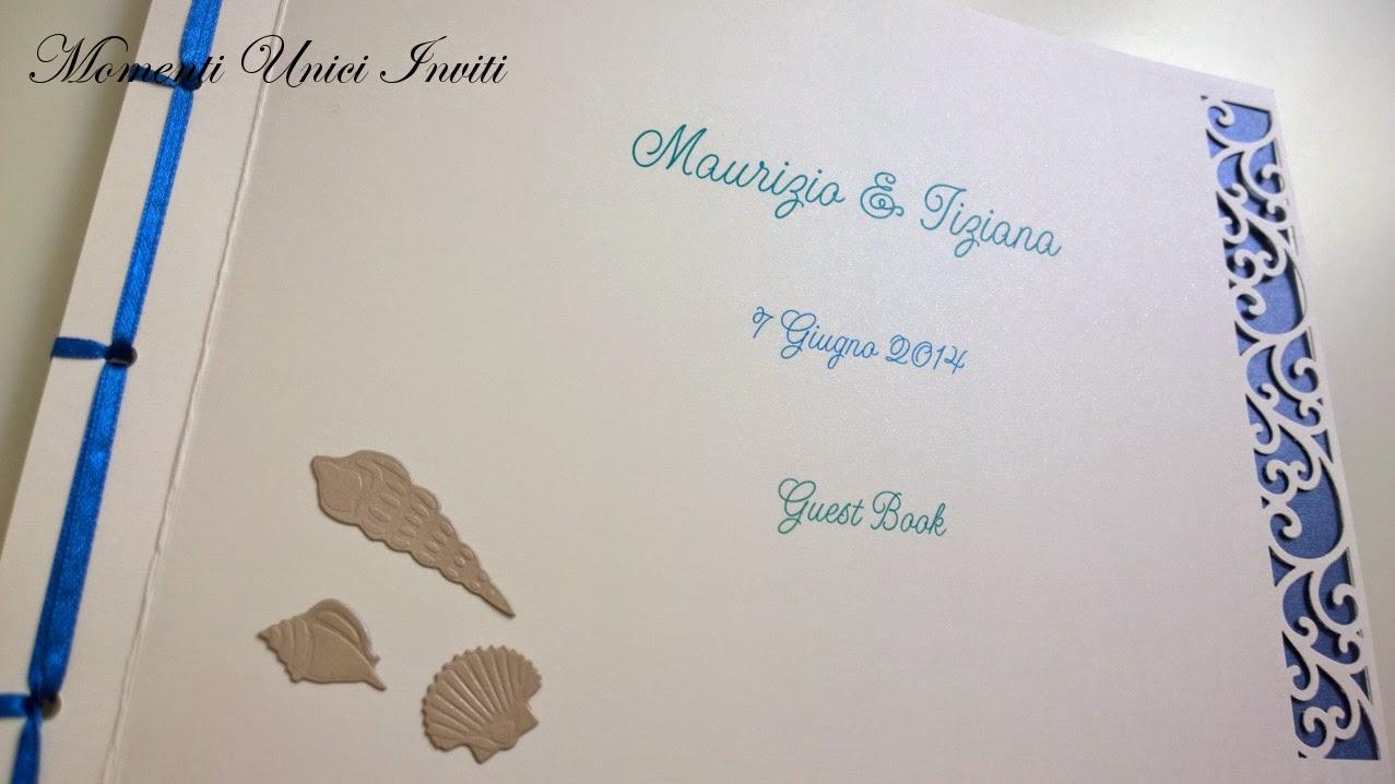 5 Guestbook e coordinato segnatavolo cards tableau tema mare per Maurizio e TizianaGuest Book Segnatavolo Tema mare