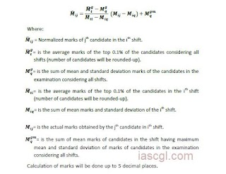 SSC Published Normalization method for Multi-Shift Exams