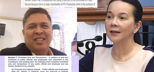 Netizen warns Senator Grace Poe - inhibit from ABS-CBN renewal franchise deliberation or face graft case. Read why!   PTN