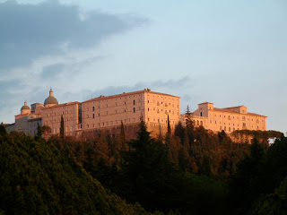 The Abbey of Monte Cassino after it had been rebuilt  in the 1950s following the original plans