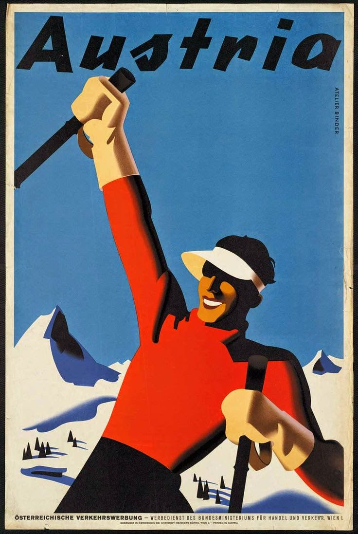 Vintage Austria skiing travel poster