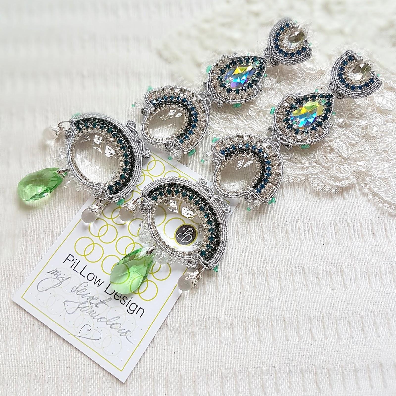 Kolczyki na ślub cywilny, srebro i zieleń.