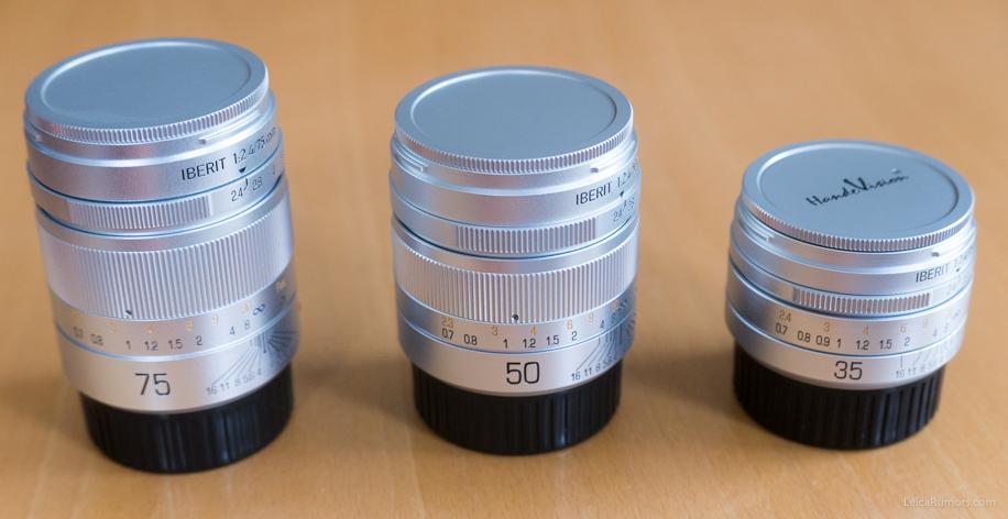 Handevision Iberit 35mm f/2.4, 50mm f/2.5 и 75mm f/2.4, вид сверху