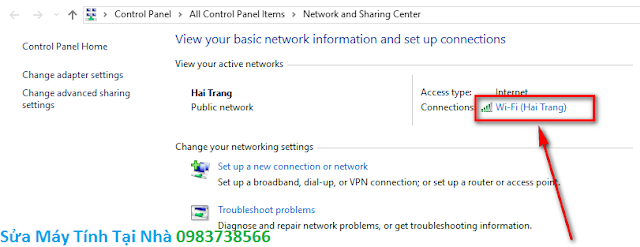 Bấm chuột vào mạng wifi