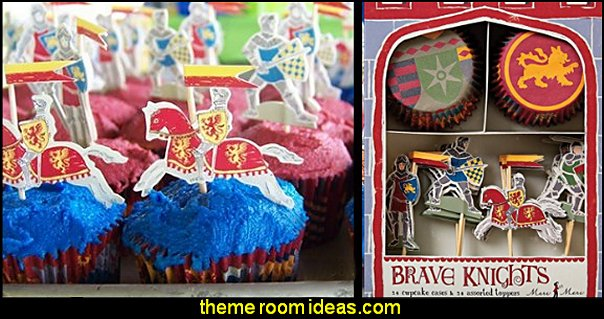 Cupcake Kits, Brave Knights medieval castle party DECORATING