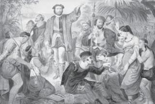 Christophorus Colombus ketika tiba di Kepulauan Bahama, Amerika