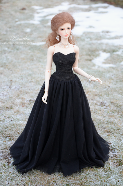 Handmade black gown for Raccoon Doll