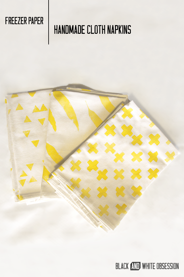 Handmade Freezer Paper, Cloth Napkins | www.blackandwhiteobsession.com