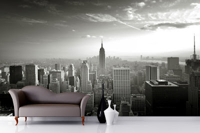 New York Tapet Svartvit Empire State Skyline 3d