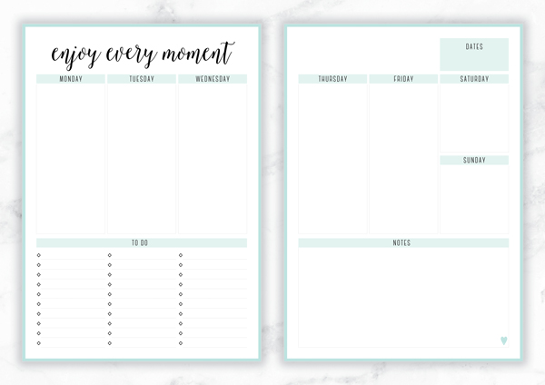 Free Printable Irma 'Enjoy Every Moment' Weekly Planner by Eliza Ellis - The perfect organizing solution for mums, entrepreneurs, bloggers, etsy sellers, professionals, WAHM's, SAHM's, students and moms. Available in 6 colors and both A4 and A5 sizes. Enjoy!