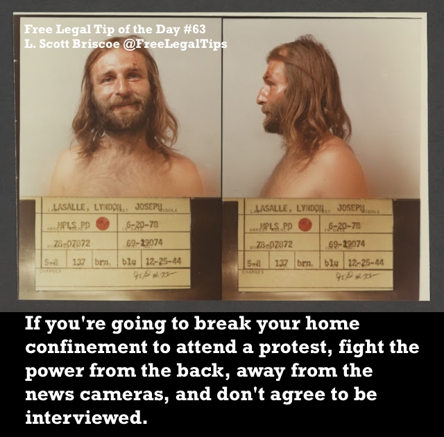 Free Legal Tip of the Day. Tip #63 L. Scott Briscoe. Mugshot, male with long hair 1978. Court, Dumb People and Humor. marchmatron.com
