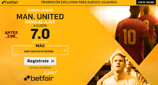 betfair supercuota 7 Man. United gana al Ajax europa league 24 mayo