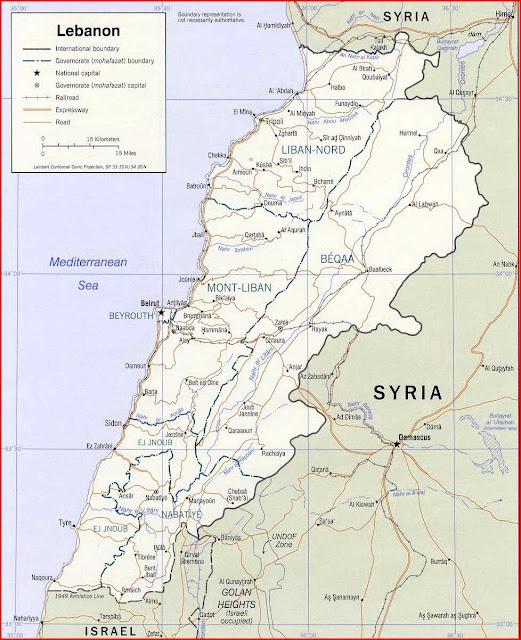Gambar Peta politik Lebanon 2002