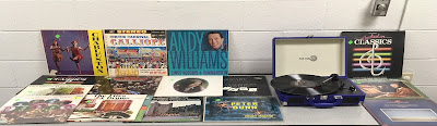 Vinyl records on display at recent Twinbrook Record Play session