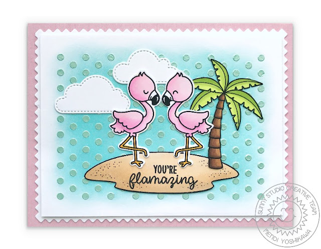 Sunny Studio Stamps: Fabulous Flamingos Card with background using Deco Foil Metallix Gel with Frilly Frames Polka-Dot Dies