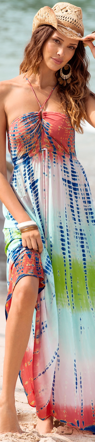 Boston Proper Multi Tie-Dye Maxi Dress