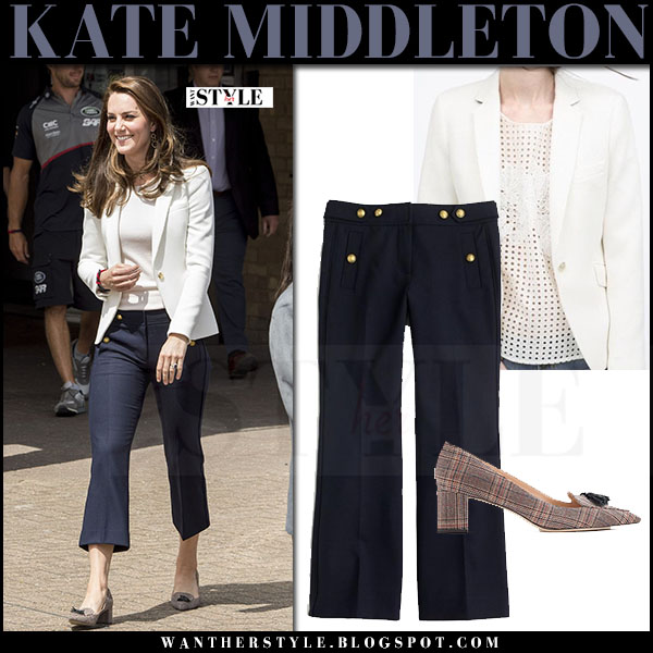 Kate Middleton in white blazer and navy cropped sailor pants j.crew and tweed pumps what she wore june 16 2017