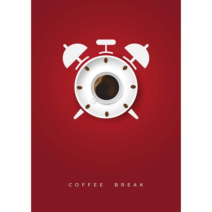 Realistic cup of coffee and coffee beans with time clock concept free vector download