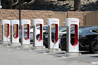 A Tesla electric car supercharger station is seen in Los Angeles, California, U.S. August 2, 2018. (Credit: Reuters/Lucy Nicholson) Click to Enlarge.