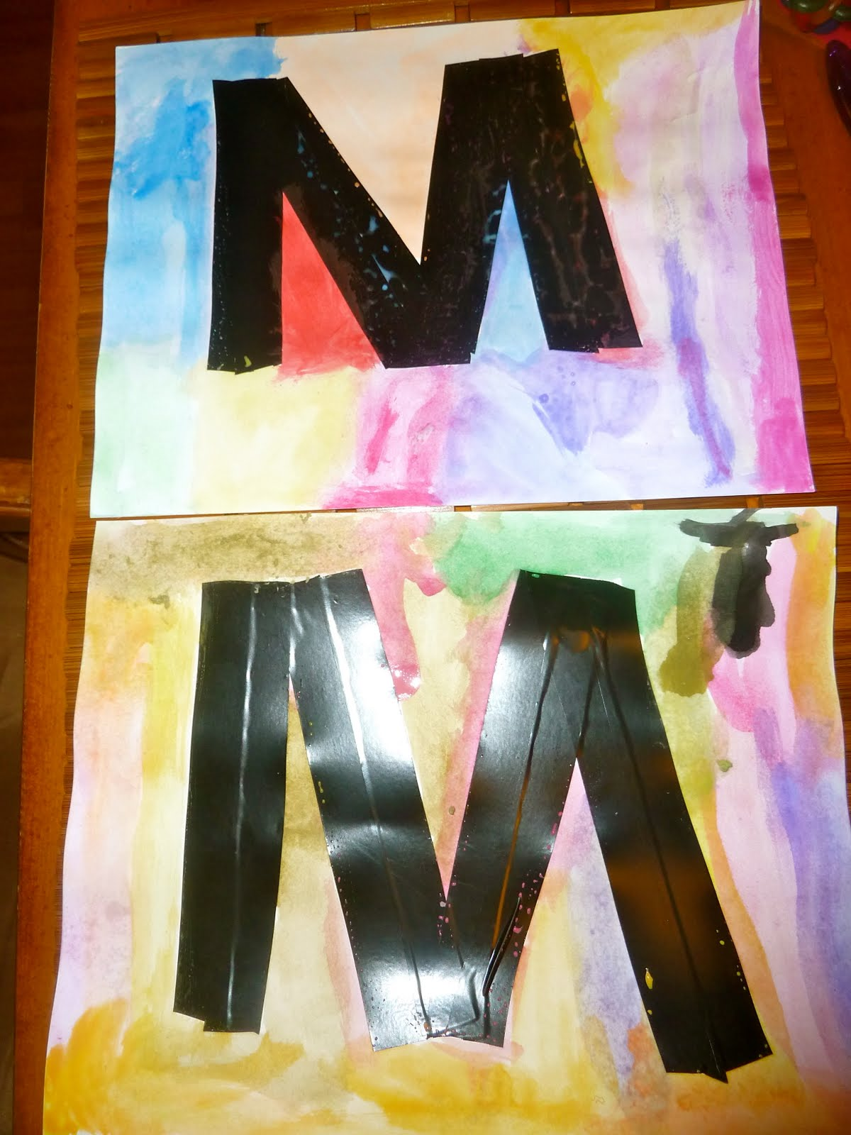 Mom To 2 Posh Lil Divas Abc Fun M Is For Mouse Tape Resist Letter Art
