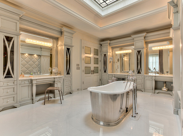 An elegant stately french inspired stone mansion with all for Elegant residences kitchens