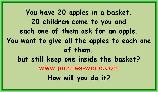 20 Apples in a basket puzzle
